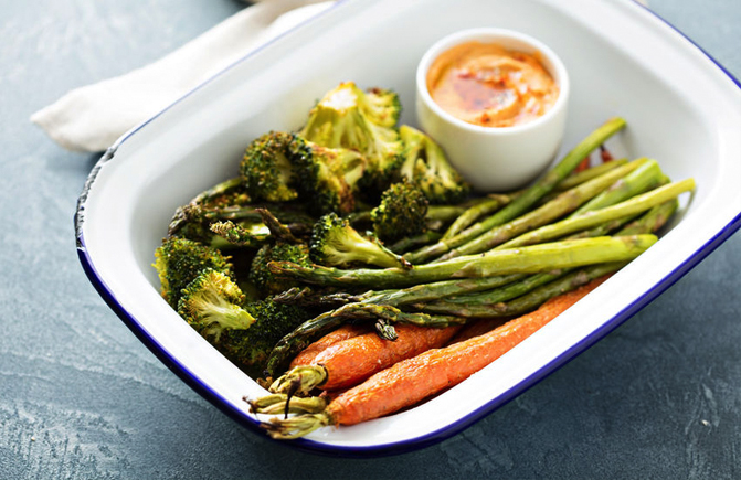 Roasted carrots, asparagus and broccoli with Savory Tofu Spread