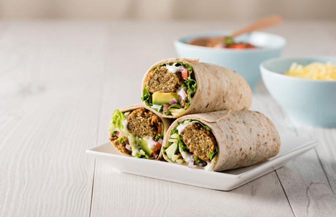 Falafel wraps with avocado and Savory Tofu Spread